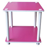 FUNIKA 2 Tier Mini Square Shelf [11214] - Pink/White Tubes - Rak Mini